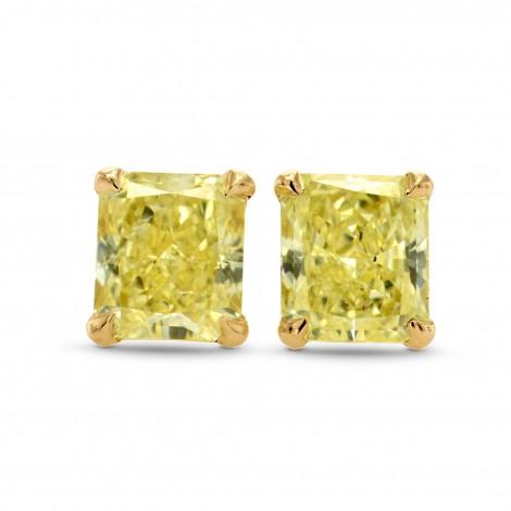 Fancy Yellow Radiant Diamond Stud Earrings, SKU 265590 (0.70Ct TW)