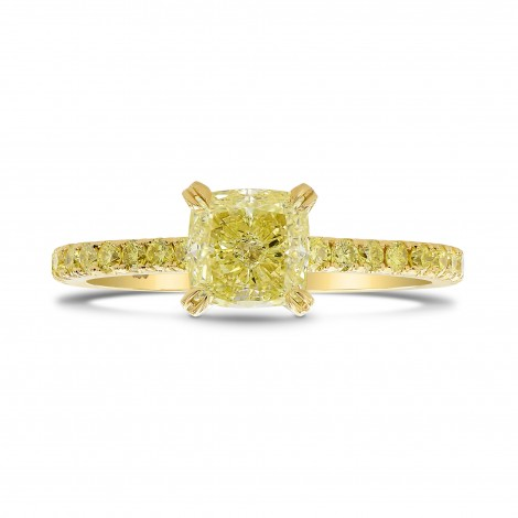 Fancy Intense Yellow Cushion Side Stones Ring, SKU 26650R (1.27Ct TW)