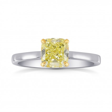 1 Carat Fancy Yellow Cushion Diamond Solitaire Ring, SKU 26698R (1.00Ct)
