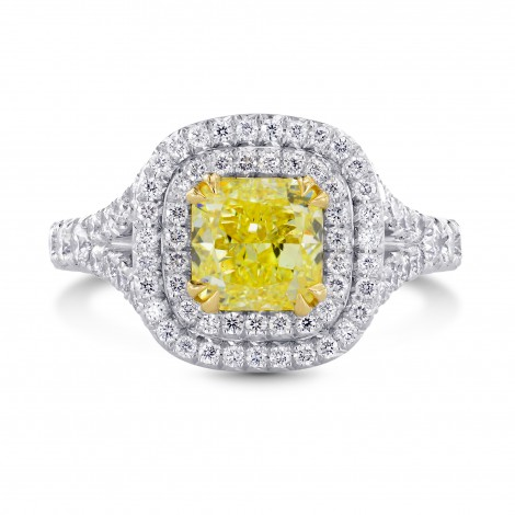 2 Carat Fancy Intense Yellow Cushion Diamond Double Halo Ring, SKU 26728R (2.75Ct TW)
