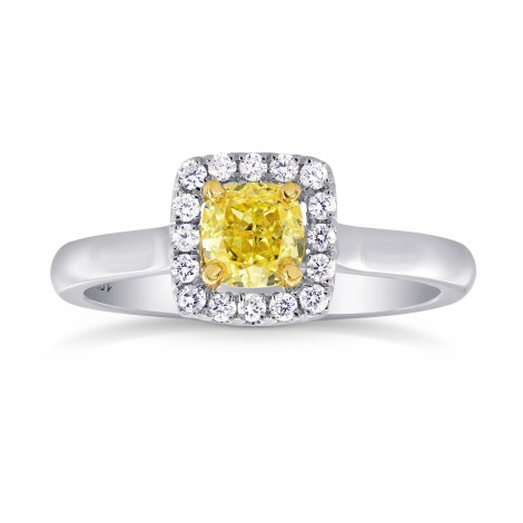 Fancy Intense Yellow Cushion Diamond Halo Ring, SKU 26730R (0.60Ct TW)