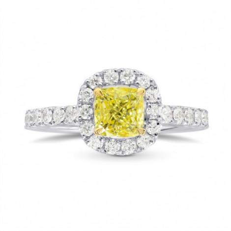 Fancy Intense Yellow Cushion Diamond Halo Ring, SKU 26786R (1.45Ct TW)