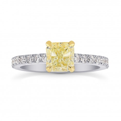 Fancy Yellow Cushion & Pave Diamond Ring, SKU 26820R (1.50Ct TW)