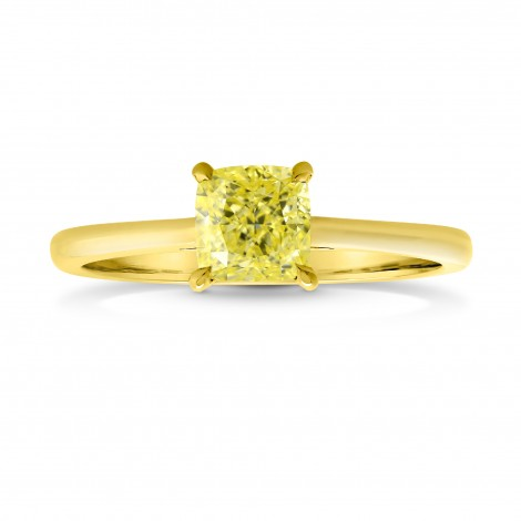 Fancy Intense Yellow Cushion Diamond Pave-Accent Solitaire Ring, SKU 26842R (1.04Ct TW)