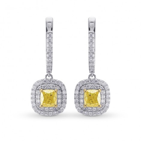 Fancy Yellow Diamond Halo Drop Earrings, SKU 26847R (2.05Ct TW)