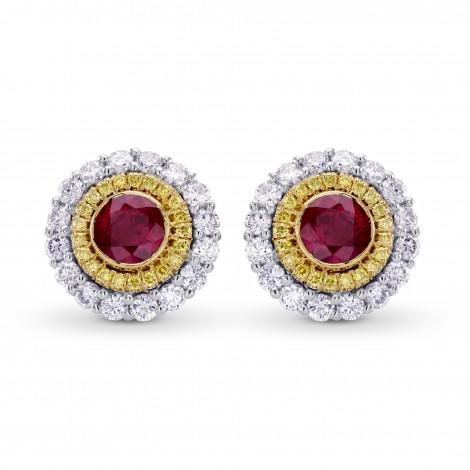 Ruby & Fancy Intense Yellow Diamond Halo Earrings (1.22Ct TW)