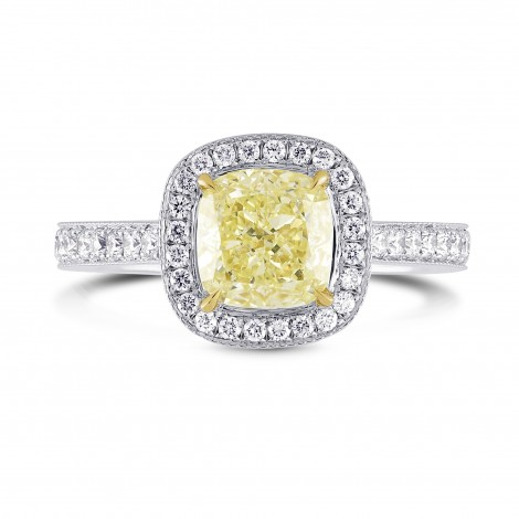 Fancy Light Yellow Cushion Diamond Halo Ring, SKU 26880R (1.35Ct TW)