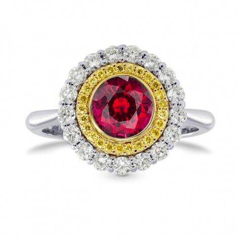 Ruby & Fancy Intense Yellow Diamond Halo Ring, SKU 26947R (1.09Ct TW)