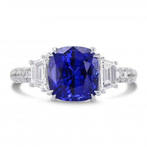 Sapphire Cushion & Diamond Engagement Ring, SKU 270325 (5.08Ct TW)