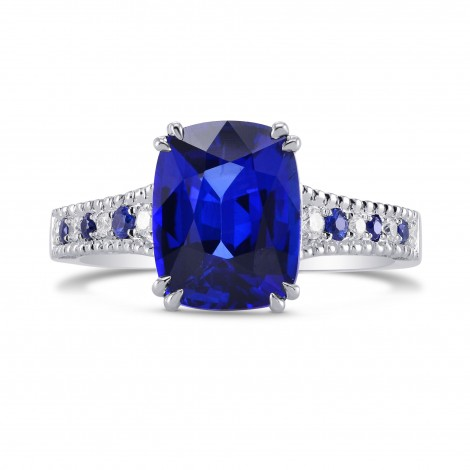 Vivid Blue Cushion Sapphire & Diamond Side stone Ring, SKU 270533 (3.93Ct TW)