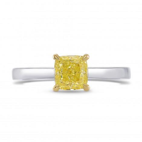 Fancy Yellow Cushion Diamond Solitaire Ring, SKU 270608 (1.08Ct)