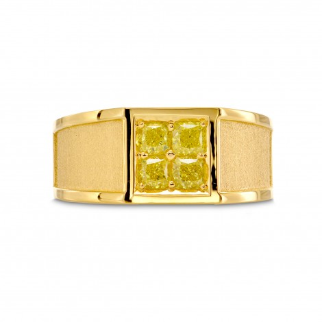 Fancy Yellow Cushion Diamond Mens Ring, SKU 27095R (0.90Ct TW)