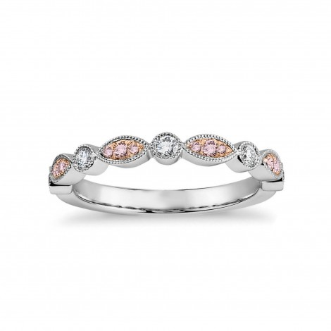 Pink & White Diamond Designer Band Ring, SKU 27120R (0.26Ct TW)