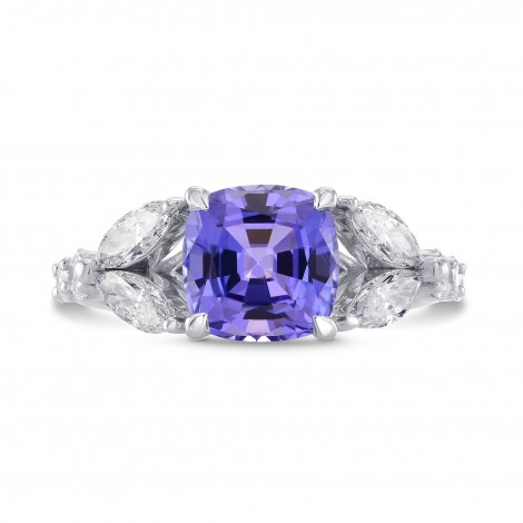 Tanzanite Cushion & Collection Marquise Side Stone Diamond Ring, SKU 271824 (3.37Ct TW)