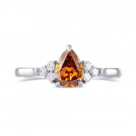 Fancy Deep Brownish Yellowish Orange Pear Diamond Ring, SKU 272592 (0.92Ct TW)