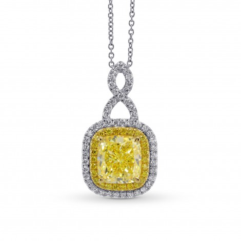 Fancy Intense Yellow Cushion Diamond Drop Pendant, SKU 272859 (3.99Ct TW)