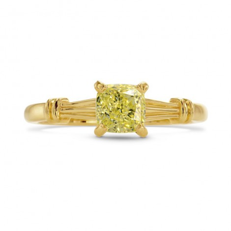 1 Carat Fancy Yellow Cushion Diamond Solitaire Ring, SKU 27290R (1.00Ct)
