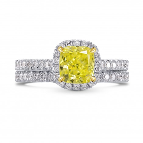 Fancy Intense Yellow Cushion Diamond Halo Ring with Matching Wedding Band, ARTIKELNUMMER 27377R (1,60 Karat TW)