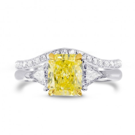 Fancy Yellow Radiant & Triangle  Diamond Engagement Wedding Ring Set, SKU 27458R (1.80Ct TW)