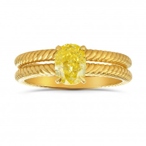 Fancy Intense Yellow Oval Engagement & Wedding Ring Set, SKU 27461R (1.00Ct)