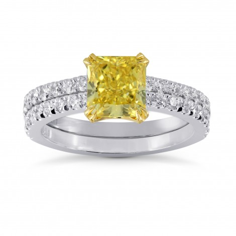 Fancy Yellow Radiant Diamond Engagement & Wedding Ring Set, ARTIKELNUMMER 27469R (2,18 Karat TW)
