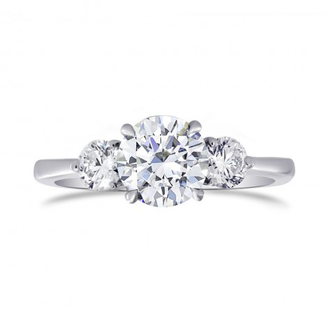 GIA certified, Colorless Round Brilliant 3 Stone Diamond Ring, SKU 27479R (1.30Ct TW)