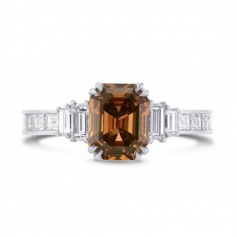 Fancy Deep Brown-Orange Emerald Cut and Baguette Diamond Side Stones Ring, ARTIKELNUMMER 274971 (1,96 Karat TW)