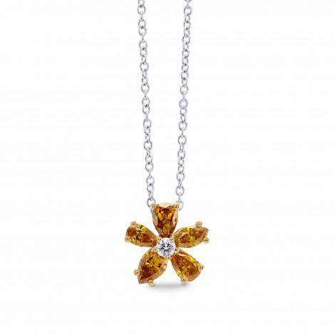 Orange Diamond Flower Pendant, SKU 275010 (0.63Ct TW)