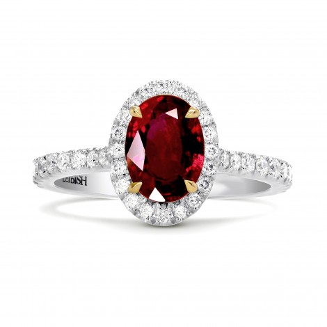 Oval Ruby & Diamond Halo Engagement Ring, SKU 27648R (1.33Ct TW)