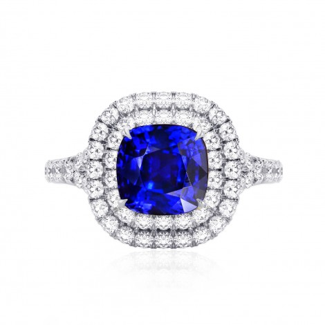 Royal Blue Sapphire & Diamond Engagement Ring, SKU 27653R (3.56Ct TW)