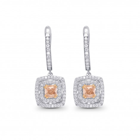 Fancy Brown Orange Cushion Diamond Drop Earrings, SKU 276844 (2.46Ct TW)