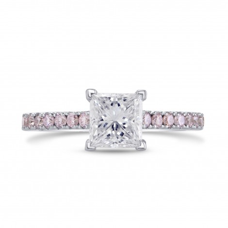 GIA, Princess-cut & Pink Diamond Engagement Ring, SKU 27843R (1.34Ct TW)