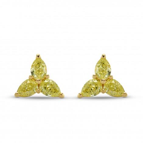 Fancy Yellow Pear Diamond Stud Earrings, SKU 278864 (2.07Ct TW)