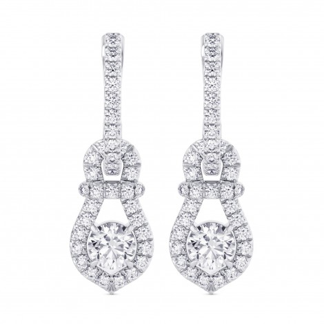 Round Brilliant Halo Diamond Drop Earrings, SKU 28027R (1.54Ct TW)