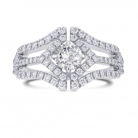 Colorless Round Brilliant Diamond Halo Ring, SKU 28087R (0.88Ct TW)
