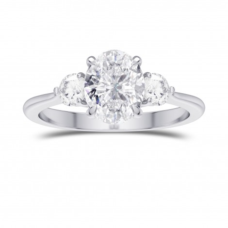 GIA Colorless Oval 3 Stone Diamond Ring, SKU 28104R (1.90Ct TW)