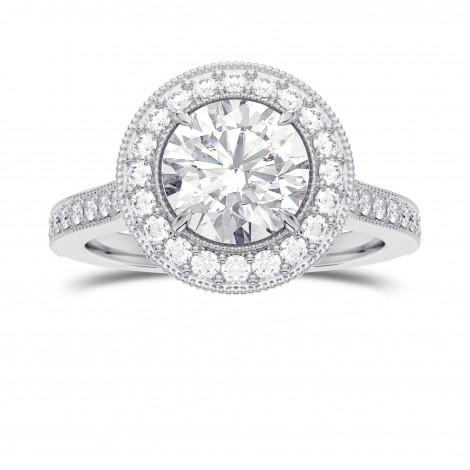 GIA Round Brilliant Diamond Vintage Style Milgrain Halo Diamond Ring, SKU 28110R (1.30Ct TW)