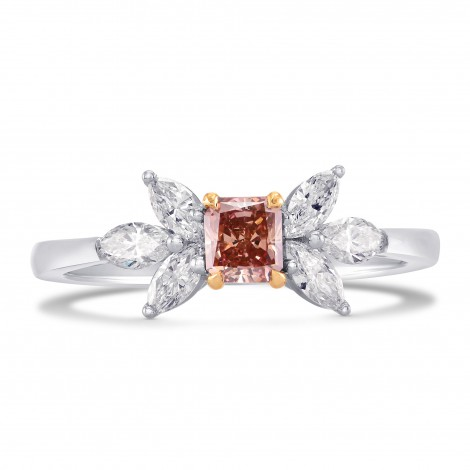 Fancy Intense Orangy Pink Radiant Diamond Ring (0.88Ct TW)