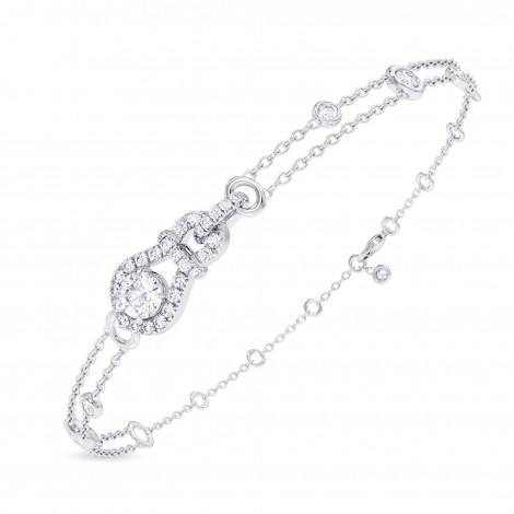 Round Brilliant Open Pave  Diamond Bracelet, SKU 28126R (0.72Ct TW)