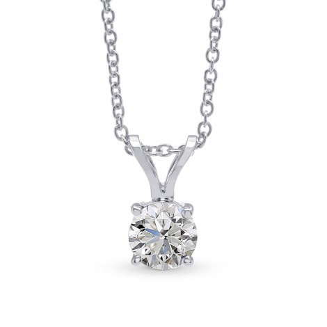 White Round Diamond Solitaire Pendant, SKU 28134R (0.70Ct)