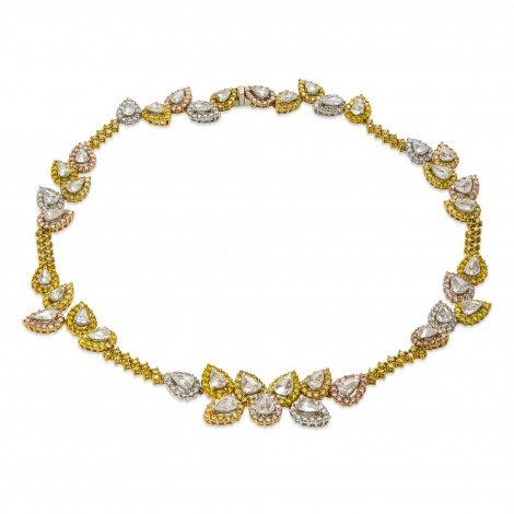 Multicolor Rose Cut diamond Necklace weighing 28.15cts Set in 18K Yellow Gold, SKU 2815 (28.15Ct TW)