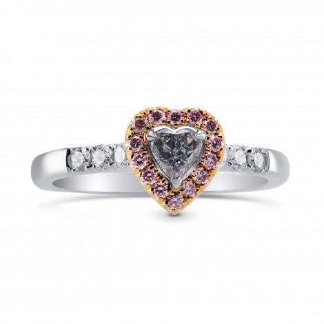 Fancy Blue Gray Heart Diamond Halo Ring with Fancy Intense Pink Diamonds (0.52Ct TW)