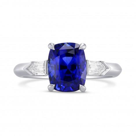 Royal Blue Sapphire Cushion & Diamond Engagement Ring, SKU 282313 (3.81Ct TW)