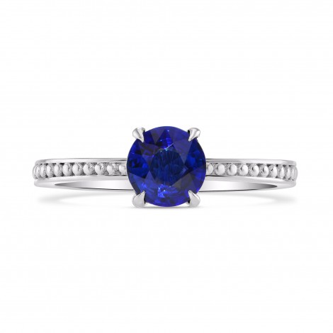 Round Sapphire Beaded Solitaire Ring, SKU 282359 (0.93Ct)