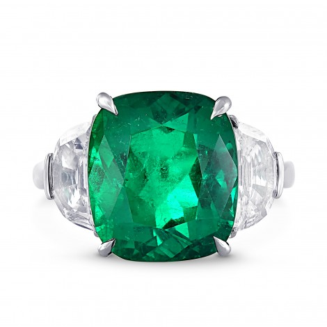 Extraordinary Colombian Emerald and Diamond 3 stone Platinum Ring, SKU 28272V (11.30Ct TW)