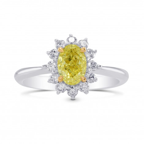 Fancy Yellow Oval Diamond Floral Halo Ring, ARTIKELNUMMER 283090 (1,31 Karat TW)