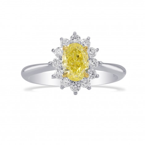 Fancy Yellow Oval Diamond Floral Halo Ring, SKU 283091 (1.37Ct TW)