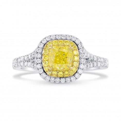 Fancy Intense Yellow Cushion Diamond Halo Ring, SKU 283457 (1.33Ct TW)