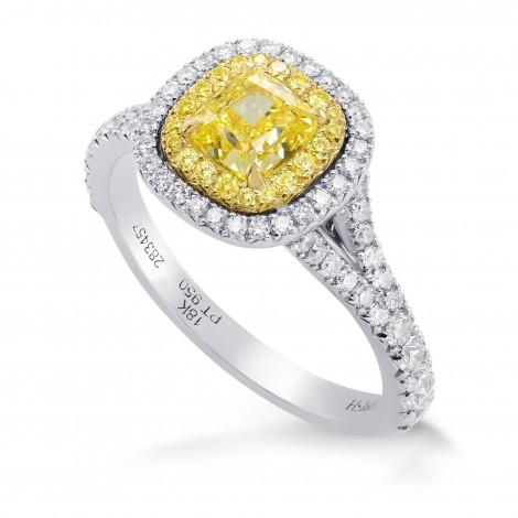 Fancy Intense Yellow Cushion Diamond Halo Ring (1.33Ct TW)