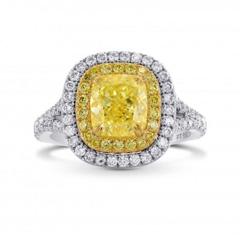Fancy Light Yellow Cushion Diamond Halo Ring, SKU 283458 (2.93Ct TW)
